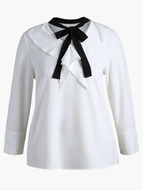 new Self-tie Ruffles Plus Size Top - WHITE 5XL Mobile