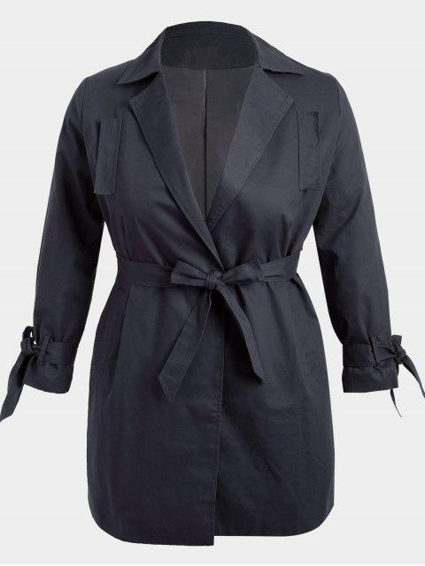 unique Plus Size Wrap Coat - BLACK 2XL Mobile