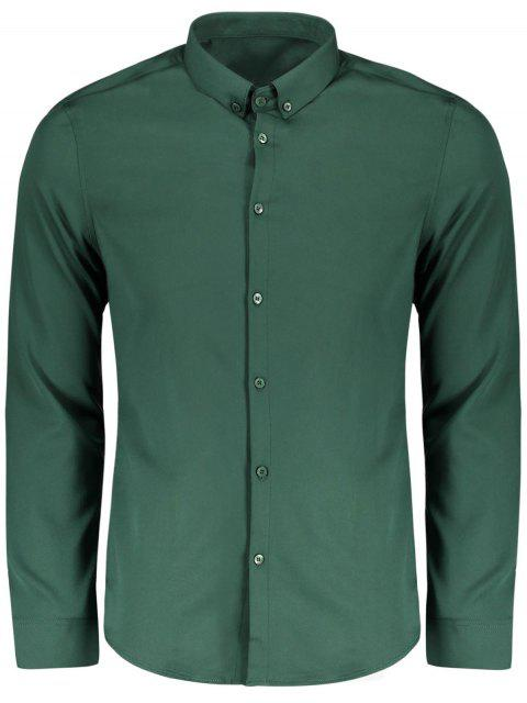 trendy Button Down Shirt - GREEN XL Mobile