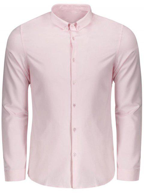 affordable Button Down Shirt - PINK XL Mobile