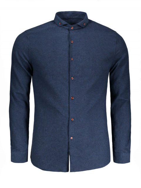 best Button Down Casual Shirt - BLUE 3XL Mobile
