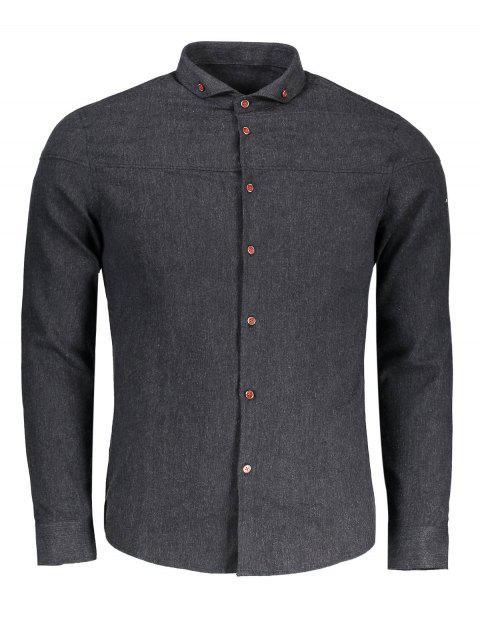 womens Button Down Flannel Shirt - DEEP GRAY 3XL Mobile