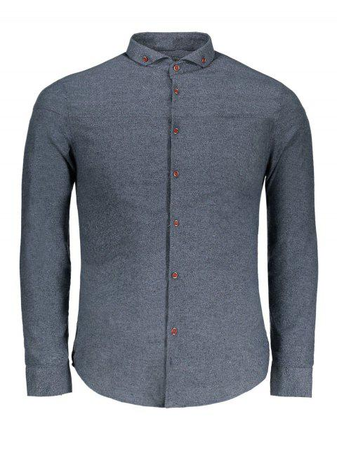 online Button Down Flannel Shirt - GRAY 3XL Mobile