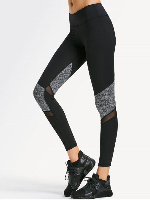 lady Mesh Panel Heathered Sporty Leggings - BLACK S Mobile