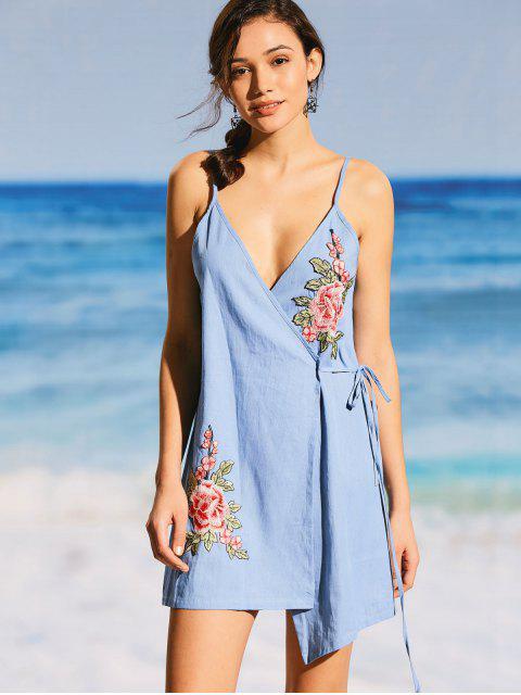 trendy Floral Applique Denim Cami Wrap Dress - LIGHT BLUE XL Mobile