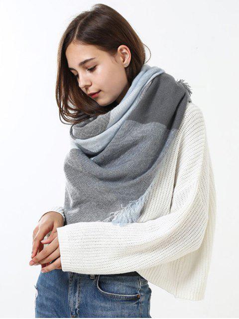 Karierter Langer Wickel Schal mit Fransen Design - Grau Weiß  Mobile