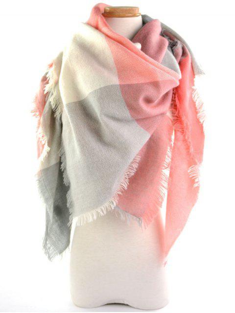 Karierter Langer Wickel Schal mit Fransen Design - Pink  Mobile