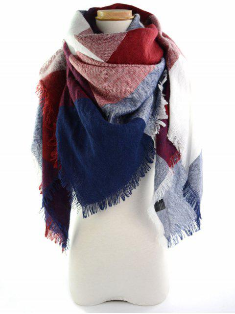 ladies Fringed Brim Checked Long Wrap Scarf -   Mobile