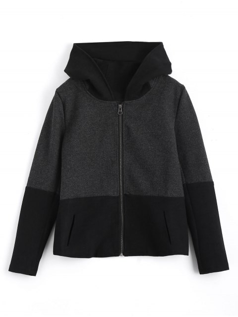 fancy Zip Up Hooded Jacket with Fuzzy Ball - BLACK AND GREY S Mobile