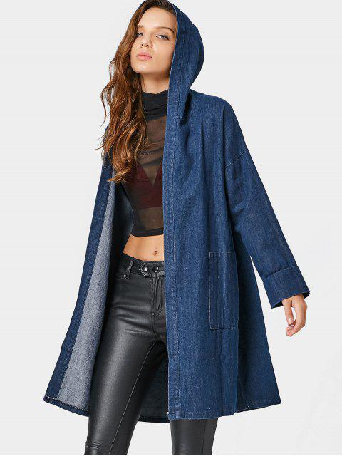 unique Drop Shoulder Pockets Hooded Denim Coat - DENIM BLUE ONE SIZE Mobile