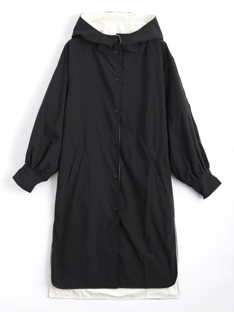 womens Hooded Button Up Double Side Trench Coat - BLACK S Mobile