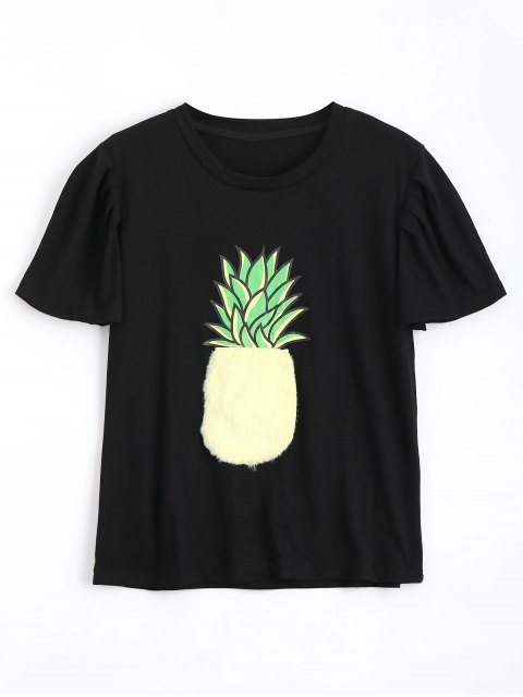 online Cotton Fuzzy Pineapple T Shirt - BLACK S Mobile