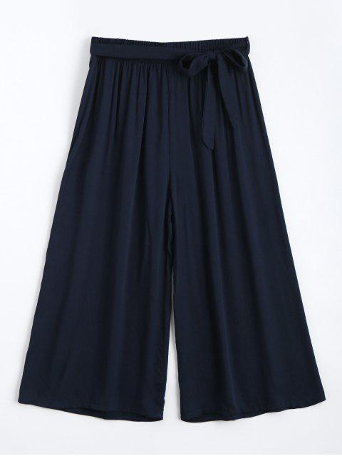 chic Capri High Waisted Belted Wide Leg Pants - PURPLISH BLUE ONE SIZE Mobile