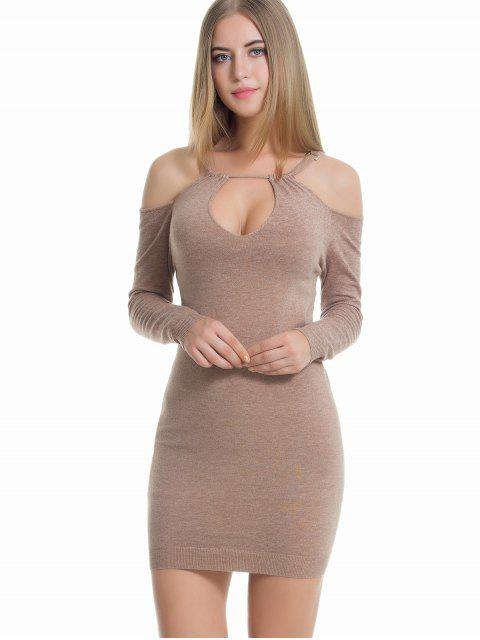 women Cut Out Cold Shoulder Sweater Dress - KHAKI ONE SIZE Mobile