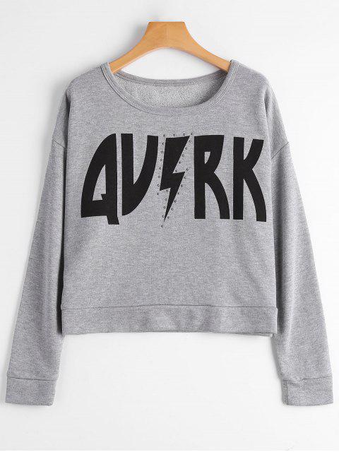 Crop Sweatshirt mit Grafikdruck - Grau M Mobile