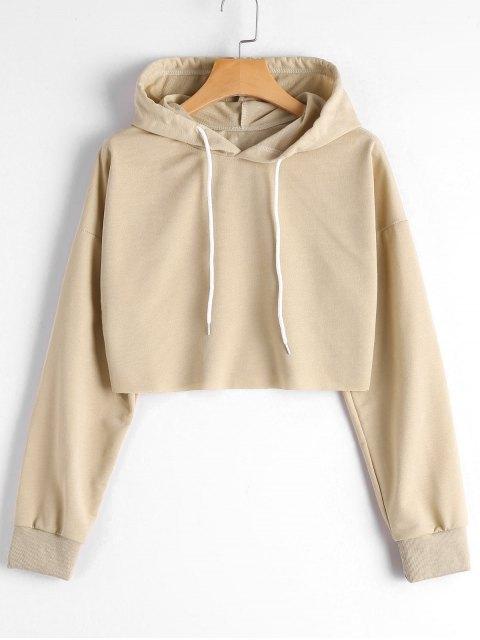 fashion Dropped Shoulder Cropped Hoodie - KHAKI M Mobile