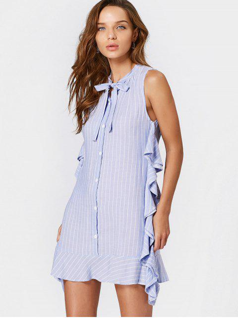 affordable Ruffle Hem Striped Bow Tie Dress - LIGHT BLUE XL Mobile