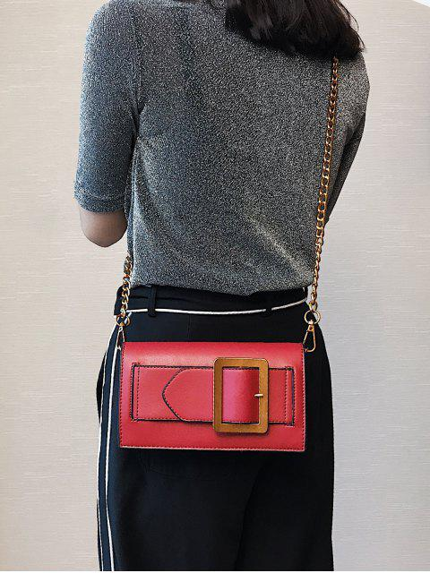 outfits Buckle Strap Faux Leather Chain Crossbody Bag - RED  Mobile