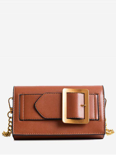 shops Buckle Strap Faux Leather Chain Crossbody Bag - BROWN  Mobile