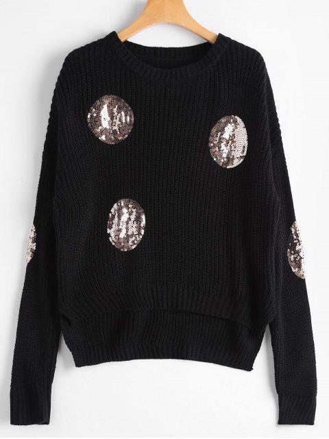 womens Knit Round Sequins Embellished Sweater - BLACK ONE SIZE Mobile