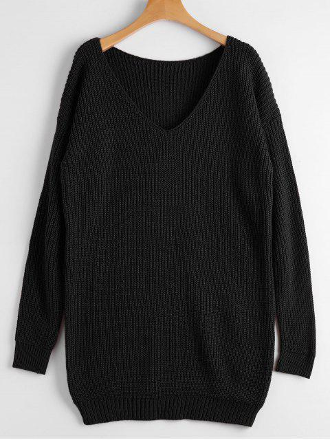 ladies Chunky V Neck Sweater - BLACK ONE SIZE Mobile