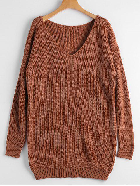 best Chunky V Neck Sweater - BRICK-RED ONE SIZE Mobile