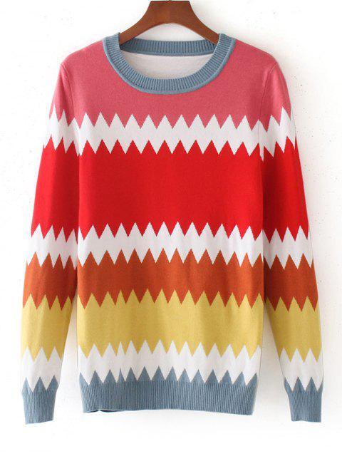 Pullover mit Farbblock und Zickzack - Mehrfarbig Eine Größe Mobile
