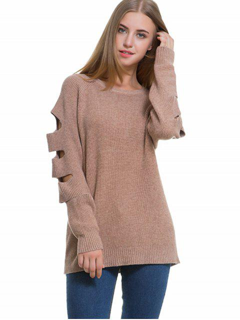 shop Raglan Sleeve Cutout Sweater - KHAKI ONE SIZE Mobile