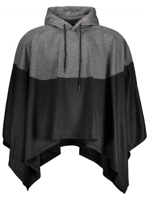 lady Mens Two Tone Cape Hoodie - BLACK AND GREY L Mobile