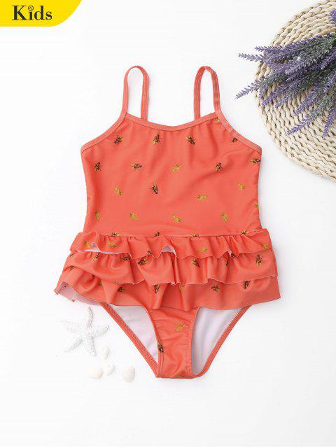 fancy Ruffle Bees Print Kids One Piece Swimsuit - ORANGE 8T Mobile