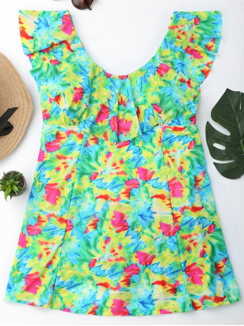 womens Ruffles Tie-Dyed Plus Size Skirted Swimwear - COLORMIX 2XL Mobile