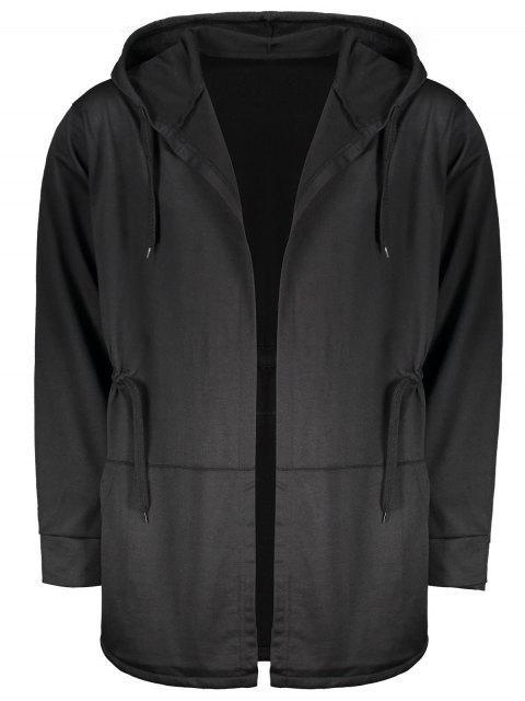 women's Drawstring Open Front Hooded Coat - BLACK 3XL Mobile