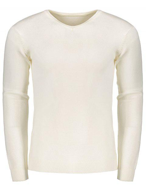 fashion V Neck Sweater - WHITE M Mobile