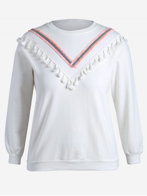Tassel Plus Size Sudadera - Blanco 4XL Mobile