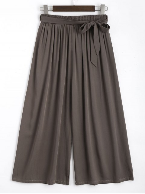 fancy Capri High Waisted Belted Wide Leg Pants - COFFEE ONE SIZE Mobile