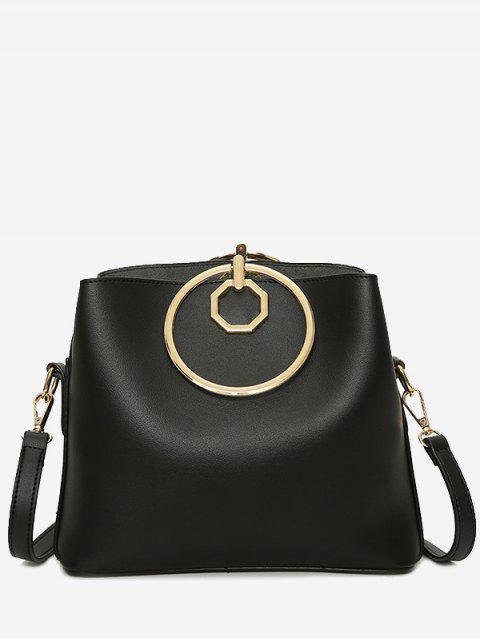 Faux-Leder-Metall-Ring-Einkaufstasche - Schwarz  Mobile