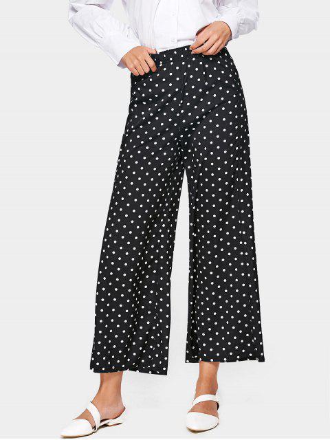 Polka Dot pantalones de pierna de cintura alta ancha - Negro XL Mobile