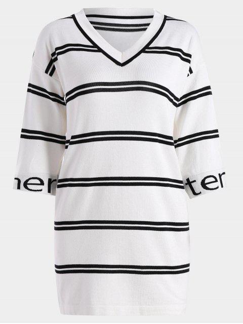 Robe Droite Tissée à Rayures Lettre - Blanc TAILLE MOYENNE Mobile