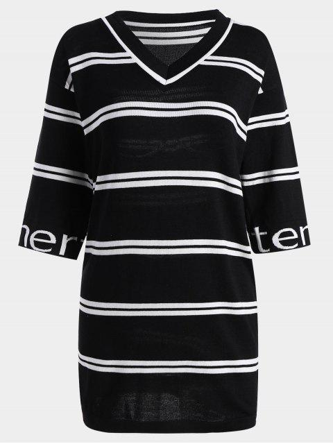 shops Letter Striped Knitted Shift Dress - BLACK ONE SIZE Mobile