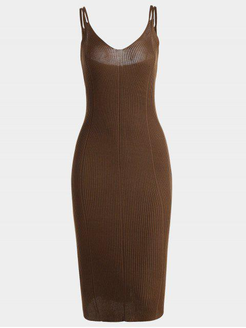 chic Plain Cami Knitted Dress - BROWN ONE SIZE Mobile