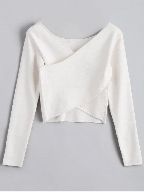online V Neck Overlap Crop Sweater - WHITE ONE SIZE Mobile