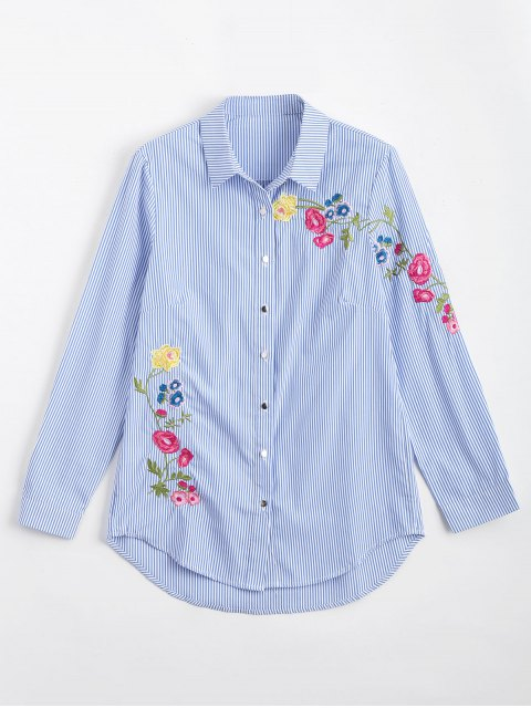 best Button Down Floral Embroidered Stripes Shirt - STRIPE S Mobile