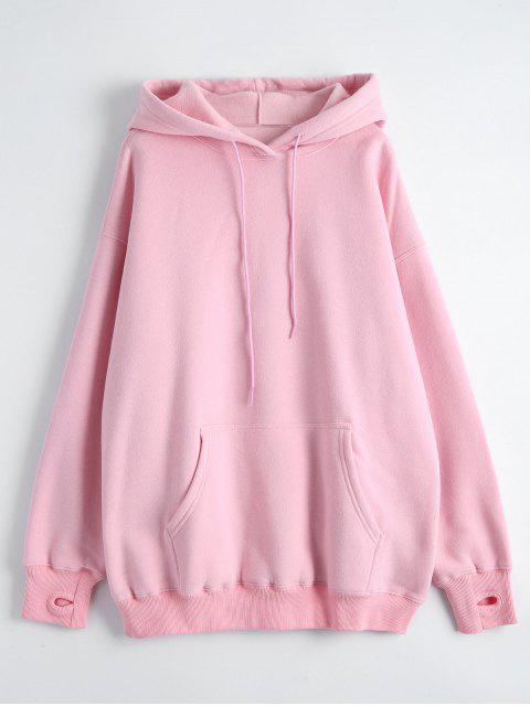 fancy Kangaroo Pocket Loose Fit Flock Hoodie - PINK M Mobile
