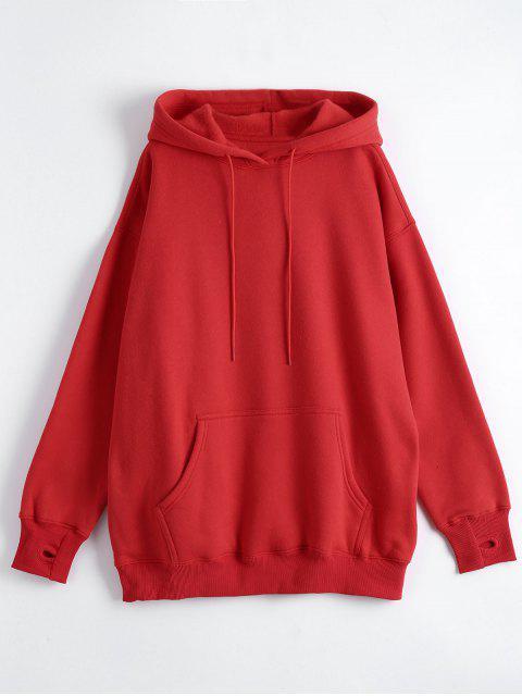 online Kangaroo Pocket Loose Fit Flock Hoodie - RED S Mobile