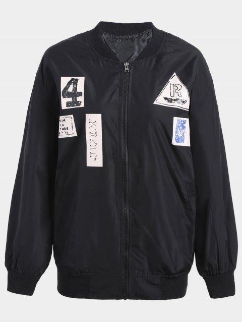 ladies Plus Size Graphic Bomber Jacket - BLACK XL Mobile