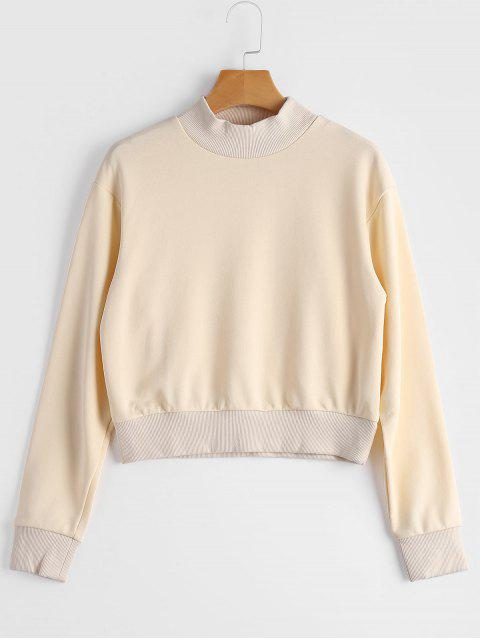 shops High Neck Cropped Sweatshirt - BEIGE S Mobile