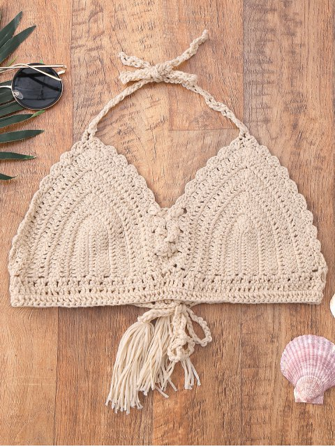 affordable Halter Tassel Crochet Swim Top - APRICOT ONE SIZE Mobile