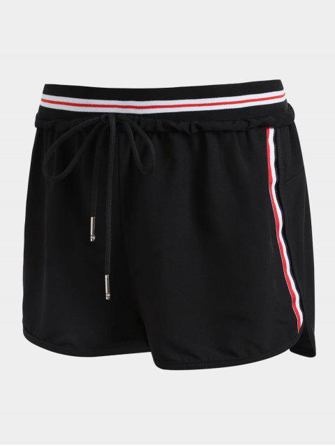 chic Striped Double Layered Sporty Shorts - BLACK L Mobile