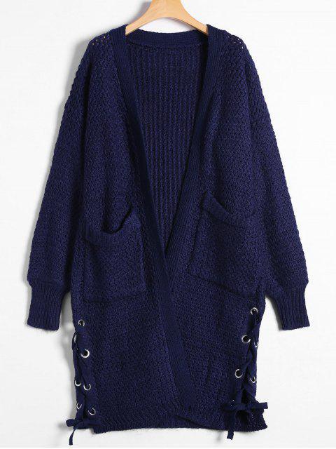 fancy Long Chunky Knit Lace-Up Cardigan - PURPLISH BLUE ONE SIZE Mobile