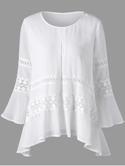 Blusa transparente de manga de campana de inserción de encaje - Blanco 2XL Mobile